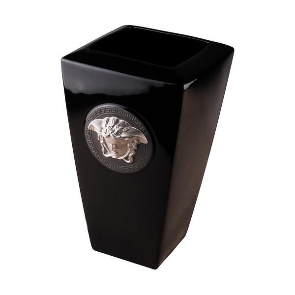 Vase, Porcelain, 12 1/2 inch | Versace Medusa Black
