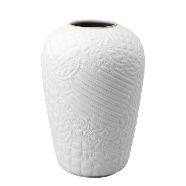 White-goldrim Vase, 12 1/4 inch | Versace Vanitas White