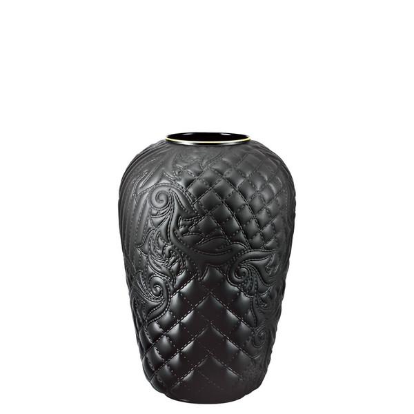 Black-goldrim Vase, 9 1/2 inch | Versace Vanitas Black