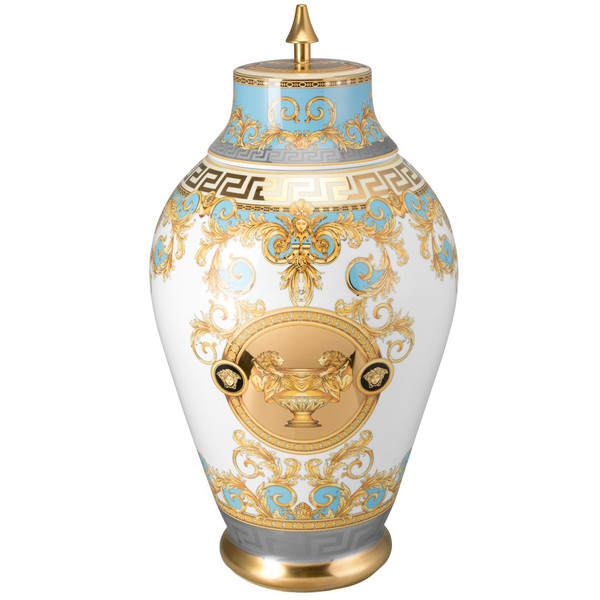 Vase with Lid, 30 inch | Versace Prestige Gala Bleu
