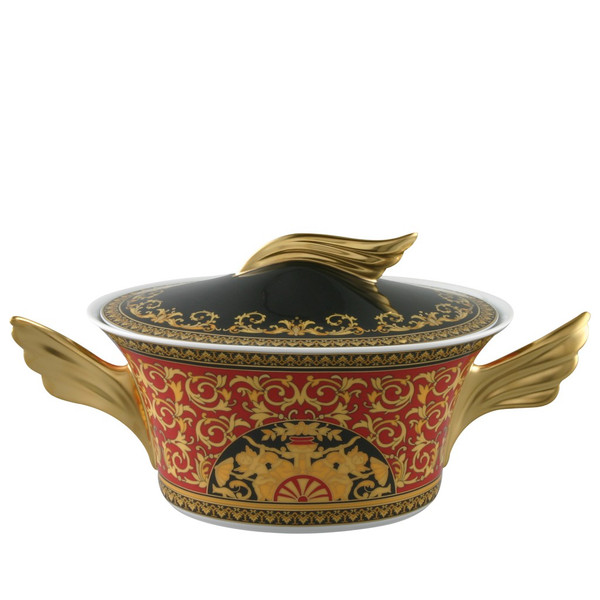 Vegetable Bowl, Covered, 54 ounce | Versace Medusa Red