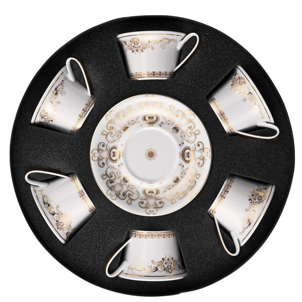 Set/Six Low Cups/Tea Cups & Saucers Round Hat Box | Versace Medusa Gala Gold