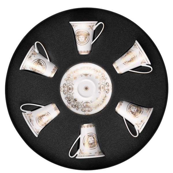 Set/Six Espresso Cup & Saucers Round Hat Box | Versace Medusa Gala Gold