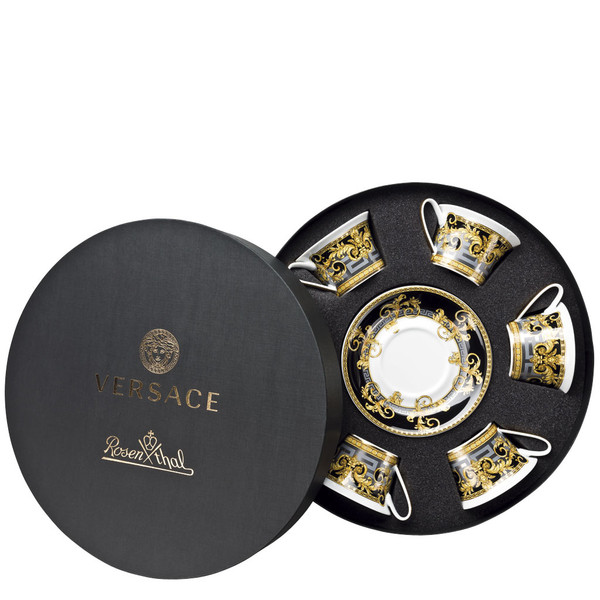 Set/Six Low Cups/Tea Cups & Saucers Round Hat Box | Versace Prestige Gala