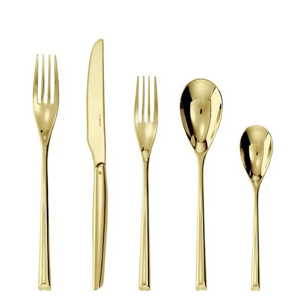 5 Pcs Place Setting (solid handle knife) | Sambonet H Art Gold