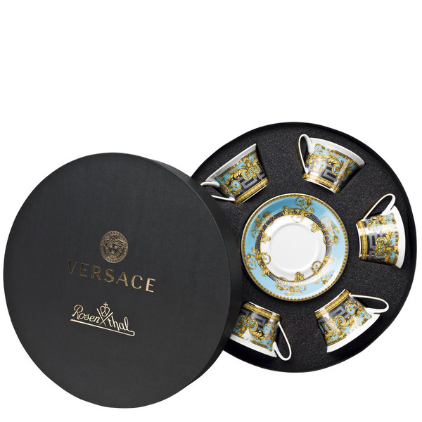 Set of six, Low Cups / Tea Cups & Saucers, Round Hat Box | Versace Prestige Gala Bleu