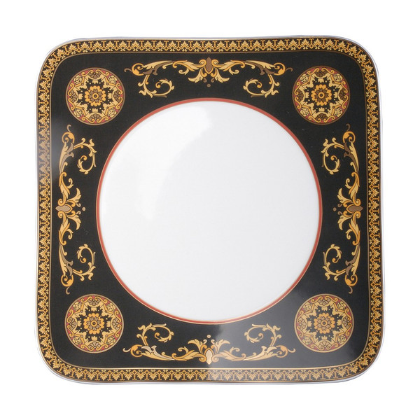 Dinner Plate, Square, 10 1/2 inch | Versace Medusa Red