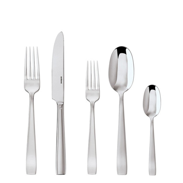 Flat Stainless Steel 5 Pcs Place Setting (solid handle knife) | Sambonet Flat