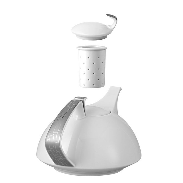 Tea Pot, 4-pc Set, 45 ounce | Rosenthal TAC 02 Skin Platinum