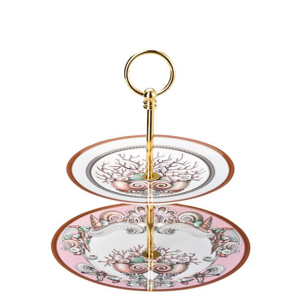 Etagere, small, 2 tiers, 7 x 8 1/2 inch | Versace Etoiles de la Mer