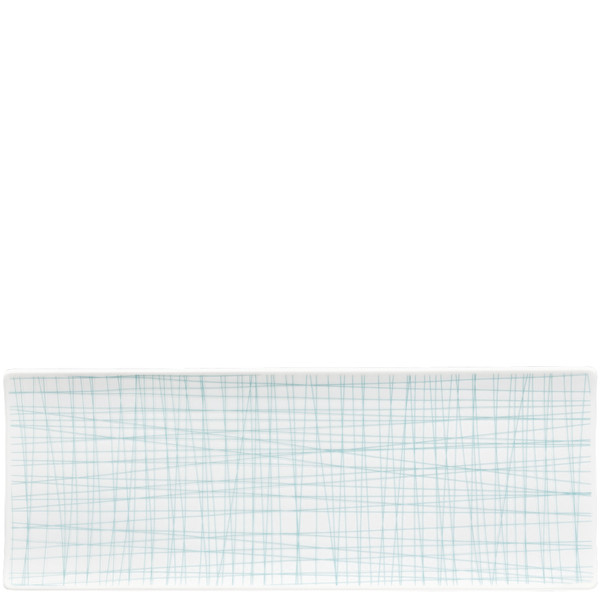 Rectangular Platter, 13 1/2 x 5 inch | Rosenthal Mesh Lines Aqua