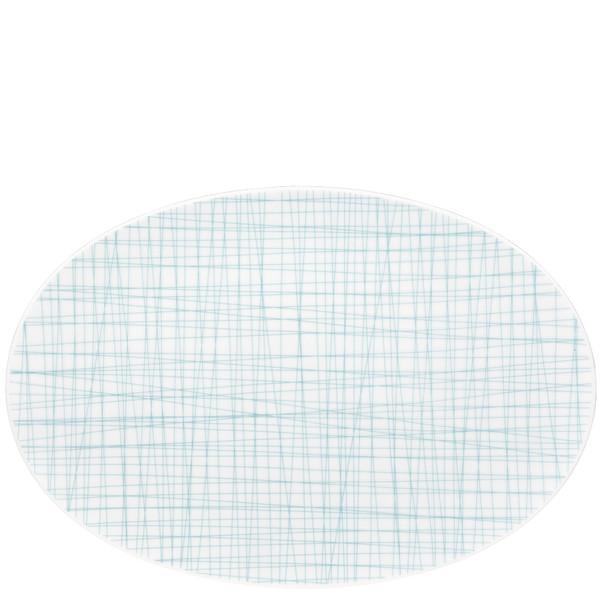 Oval Platter, 13 1/2 inch | Rosenthal Mesh Lines Aqua