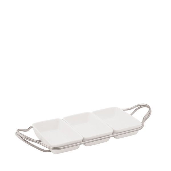 Rectangular Hors D'oeuvre in Holder, Antico finish, 14 1/4 x 7 inch | Sambonet New Living Antico