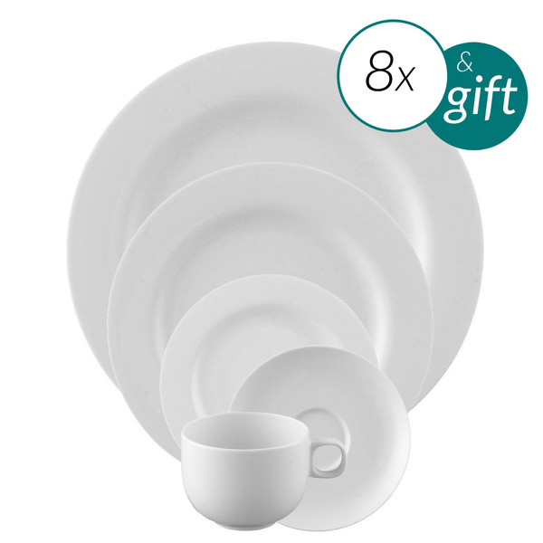 40 Piece Dinnerware set with free serving bowl | Moon White