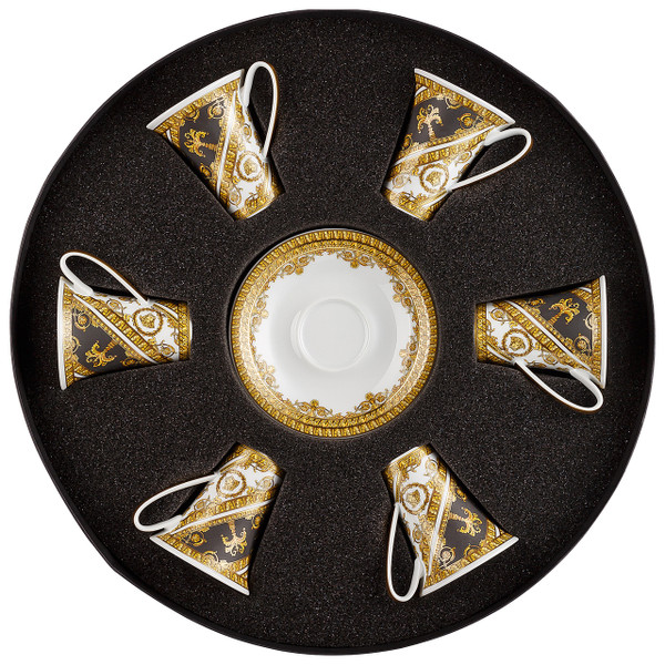 Espresso Cup and Saucer, Set of 6 in round hat box | I Love Baroque