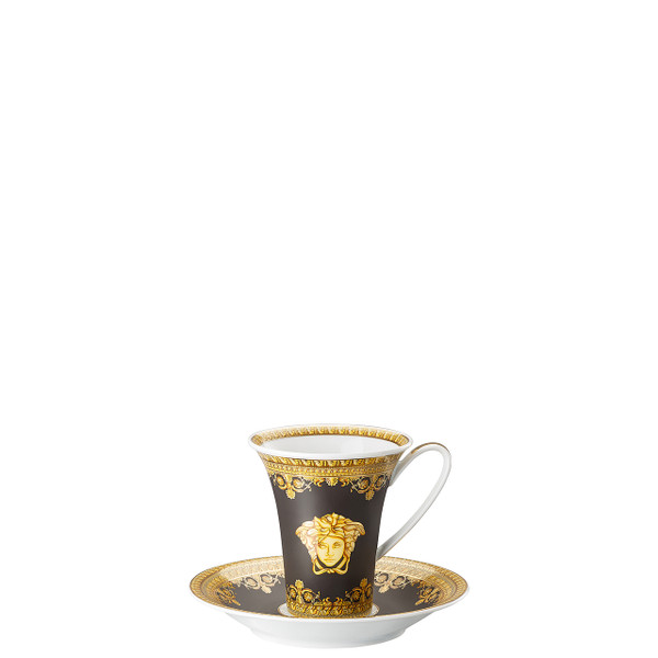 Coffee Cup and Saucer, 6 inch | I Love Baroque Nero