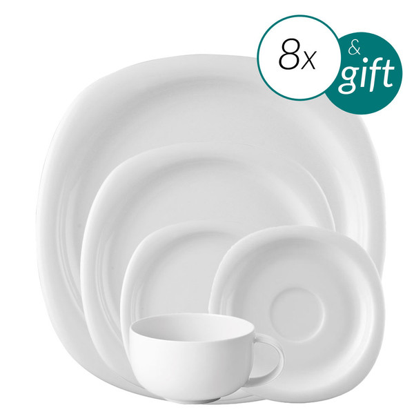 40 Piece Dinner Setting with free serving bowl | Suomi White