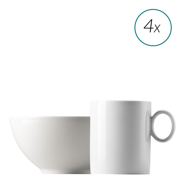 Breakfast Set (4 mugs & 4 bowls) | Loft White