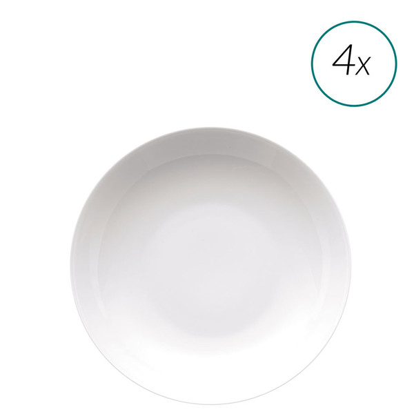Soup Plates Set, 4 pieces, 9 inch | Medaillon White