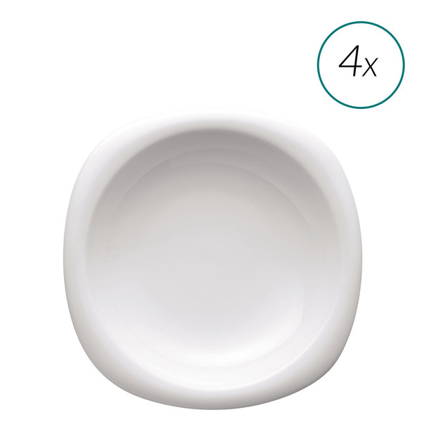 Soup Plates Set, 4 pieces, 9 inch | Suomi White