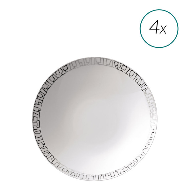 Soup Plates Set, 4 pieces, 9 1/2 inch | TAC 02 Skin Platinum