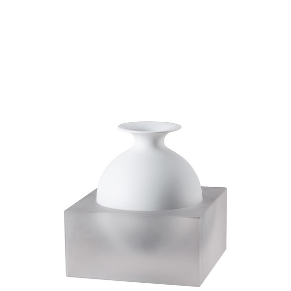 Vase, 2 pieces, White / Glass, 7 inch | Freddo