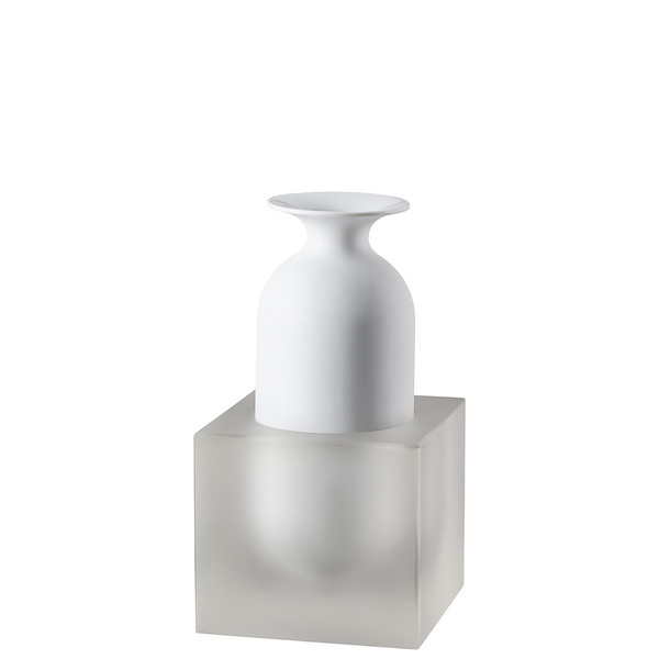 Vase, 2 pieces, White / Glass, 9 inch | Freddo