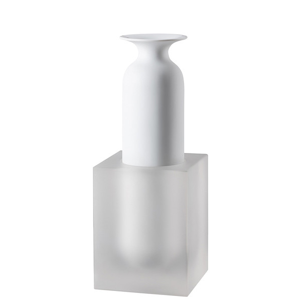 Vase, 2 pieces, White / Glass, 11 3/4 inch | Freddo