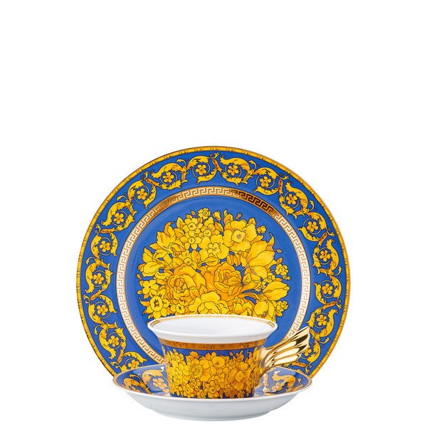 Tea Cup, Tea Saucer & Dessert Plate Set, 3 pieces | 25 Years Floralia Blue