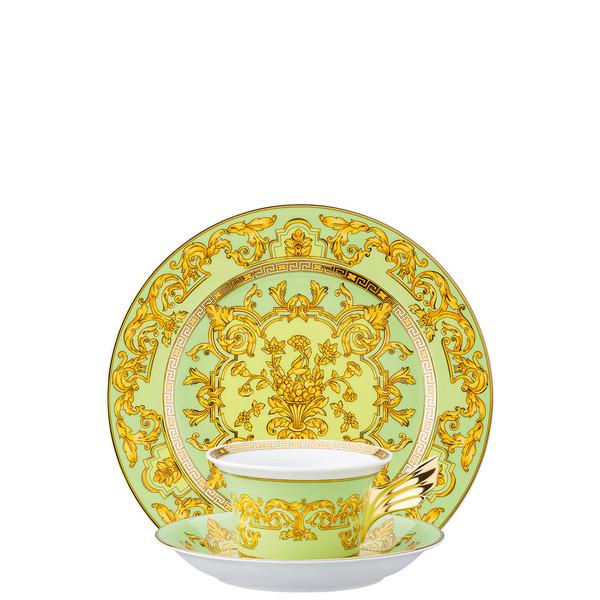 Tea Cup, Tea Saucer & Dessert Plate Set, 3 pieces   25 Years Green Floralia
