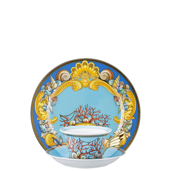Tea Cup, Tea Saucer & Dessert Plate Set, 3 pieces | 25 Years Les Tresors de la Mer