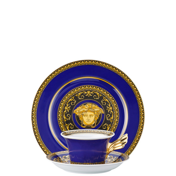 Tea Cup, Tea Saucer & Dessert Plate Set, 3 pieces | 25 Years Medusa Blue