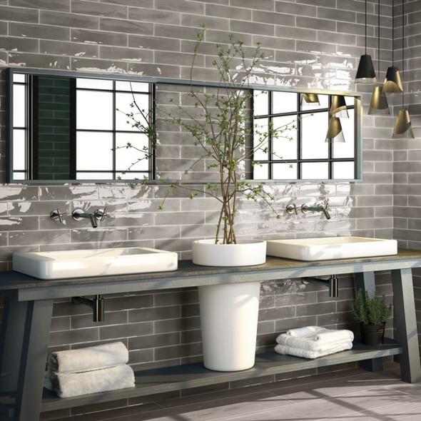 Opal Brick Grey Wall Tile - 300 x 75 x 8mm