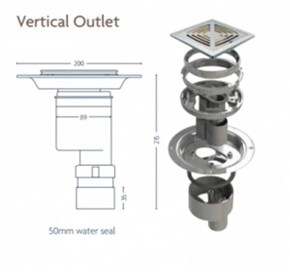 Tiled Floor Gully - Vertical Outlet