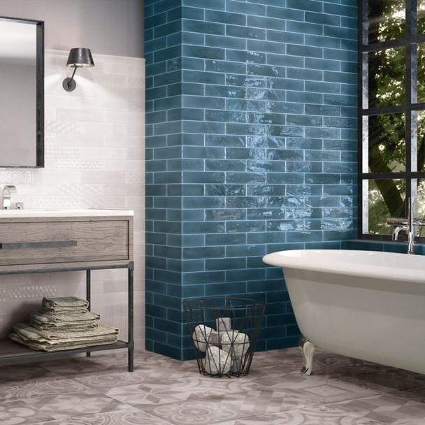 Opal Brick Marine Wall Tile - 300 x 75 x 8mm