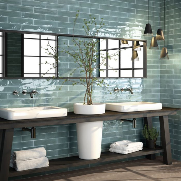 Opal Brick Turquoise Wall Tile - 300 x 75 x 8mm