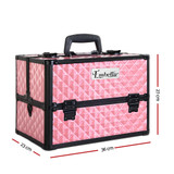 Embellir Portable Cosmetic Beauty Makeup Case with Mirror - Diamond Pink
