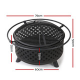 Grillz 30 Inch Portable Outdoor Fire Pit and BBQ - Black