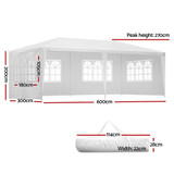 Instahut Gazebo 3x6m Outdoor Marquee Side Wall Party Wedding Tent Camping White 4 Panel