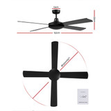 Devanti52 inch 1300mm Ceiling Fan 4 Wooden Blades with Remote Control Reversible Fans