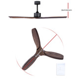 Devanti52'' Ceiling Fan With Remote Control Fans 3 Wooden Blades Timer 1300mm