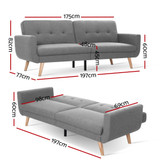 Artiss Sofa Bed Lounge Set Couch Futon 3 Seater Fabric Reliner 197cm Grey