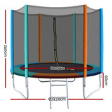 8FT Trampoline Round Trampolines Kids Safety Net Enclosure Pad Outdoor Gift Multi-coloured