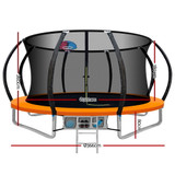 Everfit 12FT Trampoline Round Trampolines With Basketball Hoop Kids Present Gift Enclosure Safety Net Pad Outdoor Orange