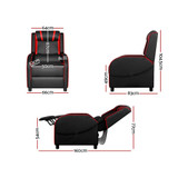 Artiss Recliner Chair Gaming Racing Armchair Lounge Sofa Chairs Leather Black