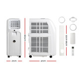 DevantiPortable Air Conditioner Cooling Mobile Fan Cooler Remote Window Kit White 2000W