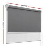 Roller Blinds Blockout Blackout Curtains Window Double Dual Shades 1.8X2.1M WHGR