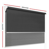 Roller Blinds Blockout Blackout Curtains Window Double Dual Shades 2.4X2.1M GRDR