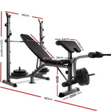 Everfit Multi-Station Weight Bench Press Fitness 58KG Barbell Set Incline Black