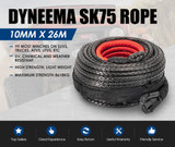 Winch Rope 10mm x 26m Dyneema SK75 Synthetic Rope Tow Recovery for WARN Offroad